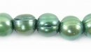 Large Hole Forest Green Potato Pearls 9-10mm