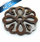 Laser cut brown coco disc flower shape pendant 43x43x4mm