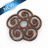 Laser cut brown coco disc irregular shape 30 x 20mm pendant