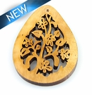 Laser cut himbabawod wood teardrop shape pendant 39x55-57mmx2mm