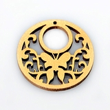 Metallic copper painted hambabalud wood laser cut pendant 34mmx2.5mm