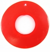 Neon Red Capiz Donut Shell Pendants With Top Drilled Hole 46mm