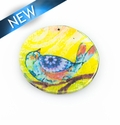 Paper print wrapped wood pendant  flat disc; 38x38x2.5mm bird design
