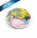 Paper print wrapped wood pendant flat disc; 38x38x2.5mm cat design