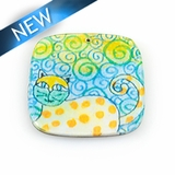 Paper print wrapped wood pendant flat square; 38x38x2.5mm cat design