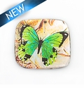 paper print wrapped wood pendant flat square 39mmx41x2.5mm butterfly design