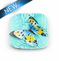 Paper print wrapped wood pendant flat square; 42x43x2.5mm butterfly des.