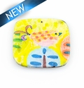 Paper print wrapped wood pendant flat square yellow 38x38x2mm bird design