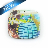 Paper print wrapped wood pendant flat square yellow 38x38x2mm cat design