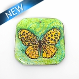 paper print wrapped wood pendant irregular shape; 40x41x2.5mm butterfly design