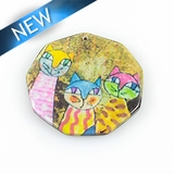Paper print wrapped wood pendant octagon shape; 38x38x2.5mm cat design