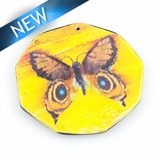 Paper print wrapped wood pendant octagon shape; 43x42.5x2.5mm butterfly design