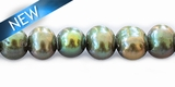 Potato pearl metallic forest green big hole 9-10mm