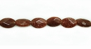 Red  Faceted Oval Goldstone Beads