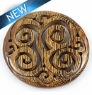 Robles wood carved round pendant 50mm