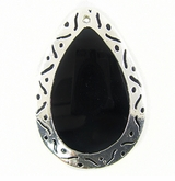 Tab Teardrop In Carved Silver Frame 30x45