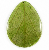 "Teardrop Coco Back ""Cab-Caban""  Leaf Inlay Pendant"
