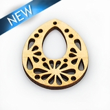 Unbuffered hambabalud wood laser cut pendant 29x34.5x3mm