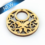 Unbuffered hambabalud wood laser cut pendant 34.5x34x2.5mm