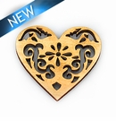 White wood laser cut heart shape 40x37x3mm
