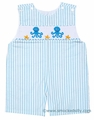 Anavini Baby / Toddler Boys Blue Striped Smocked Octopus Shortall