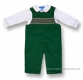 Anavini Baby Boys Christmas Green Corduroy Smocked Longall with Shirt