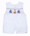 Anavini Baby Boys White Smocked Red / Blue Sailboats Shortall