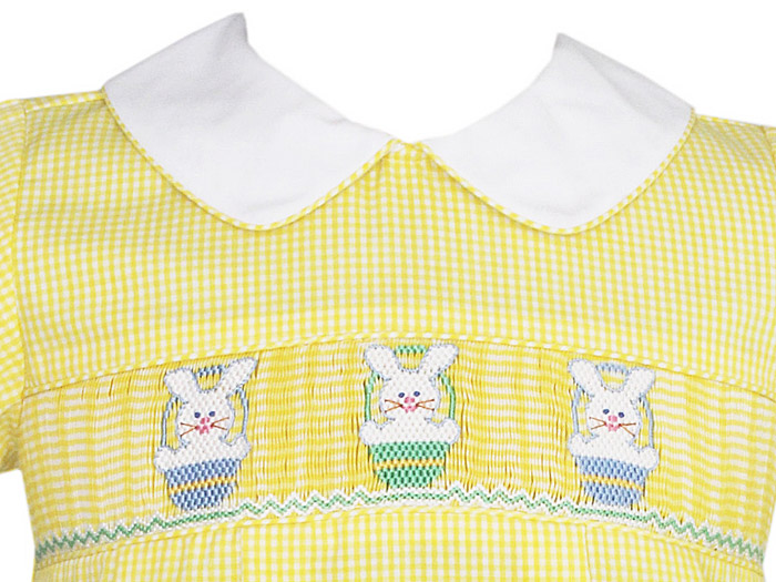 Anavini Smocked Bubble W Easter Bunny Baskets Yellow