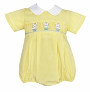 Anavini Baby Boys Yellow Gingham Smocked Easter Bunny Baskets Bubble