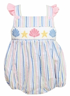 Anavini Baby Girls Blue / Pink Striped Smocked Sea Shells Bubble