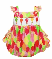 Anavini Baby Girls Colorful Birthday Balloons Smocked Ruffle Cross Back Bubble