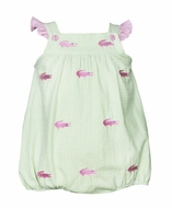 Anavini Baby Girls Green Seersucker Gingham / Pink Alligators Embroidery Bubble