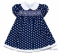 Anavini Baby Girls Navy Blue / White Dot Smocked Float Dress with Collar