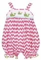 Anavini Baby Girls Pink Chevron Smocked Green Whales Bubble