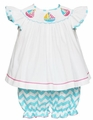 Anavini Baby Girls Turquoise Chevron Smocked Sailboats Bloomers Set