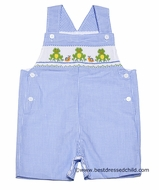 Anavini Baby / Toddler Boys Blue Check Smocked Green Frogs Shortall