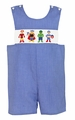 Anavini Baby / Toddler Boys Blue Micro Check Smocked Super Heroes Jon Jon