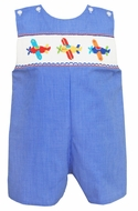 Anavini Baby / Toddler Boys Blue Smocked Airplanes Shortall