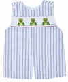 Anavini Baby / Toddler Boys Blue Striped Smocked Green Frogs Shortall