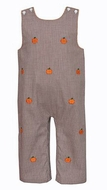 Anavini Baby / Toddler Boys Brown Gingham Embroidery Pumpkins Longall