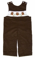 Anavini Baby / Toddler Boys Camel Brown Corduroy Smocked Owls Longall
