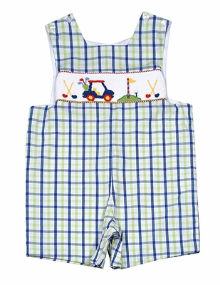 Anavini Baby Toddler Boys Green Blue Plaid Smocked