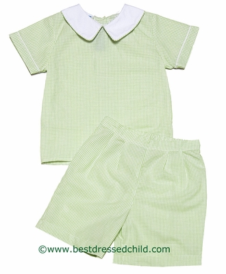 Anavini Baby / Toddler Boys Green Check Dressy Shorts Set