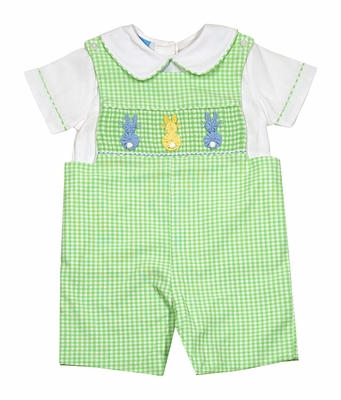 Anavini Baby / Toddler Boys Green Check Smocked Cottontail Bunnies Shortall iwth Piped Shirt