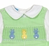 Anavini Baby / Toddler Boys Green Check Smocked Cottontail Bunnies Shortall with Piped Shirt