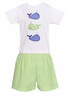 Anavini Baby / Toddler Boys Green Gingham Shorts with Applique Whale Shirt