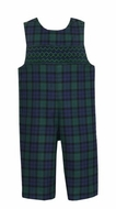Anavini Baby / Toddler Boys Navy Blue / Green Plaid Longall with Smocking
