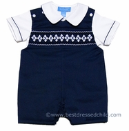 Anavini Baby / Toddler Boys Navy Blue Pique Smocked White Argyles Shortall with Shirt