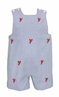 Anavini Baby / Toddler Boys Navy Blue Seersucker / Embroidered Red Lobsters Shortall