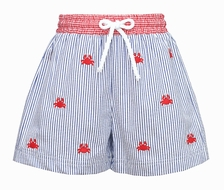 Anavini Baby / Toddler Boys Navy Blue Striped Seersucker / Embroidery Red Crabs Swim Trunks